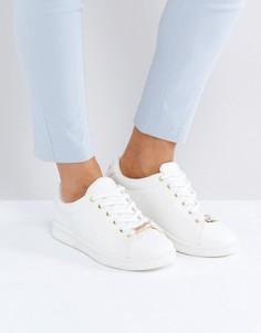 Парусиновые кроссовки с золотистой отделкой New Look - Белый
