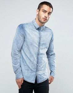 Классическая джинсовая рубашка с эффектом кислотной стирки New Look - Синий