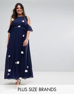 Платье макси с оборками TFNC Wedding Plus - Темно-синий
