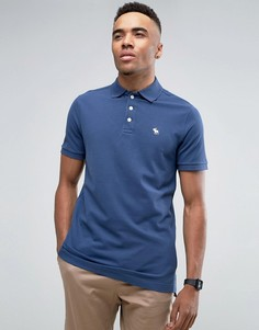 Синее эластичное поло из ткани пике с логотипом Abercrombie & Fitch - Синий