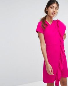 Платье мини с асимметричной оборкой Closet - Розовый