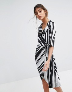 Платье в полоску с запахом Closet London - Мульти