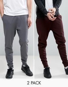 Комплект из 2 зауженных спортивных штанов бордового цвета/выбеленного черного цвета ASOS - СКИДКА - Мульти