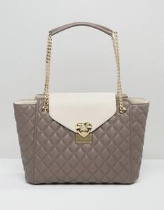 Стеганая сумка-тоут Love Moschino - Серый