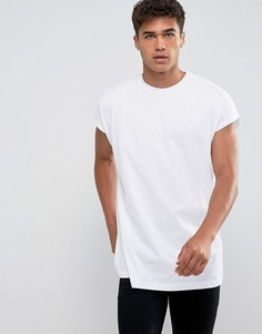 Длинная белая оversize-футболка ASOS - Белый