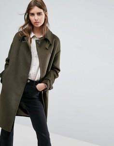 Свободное пальто с отложным воротником-трубой и пряжками ASOS - Зеленый