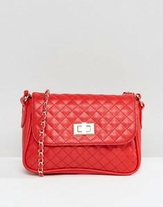 Стеганая сумка через плечо c замочком ASOS - Красный