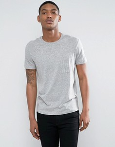 Футболка с карманом в полоску Selected Homme - Серый
