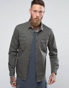 Джинсовая рубашка хаки в стиле вестерн классического кроя ASOS - Зеленый
