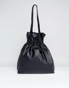 Сумка-шоппер с затягивающимся шнурком ASOS - Черный