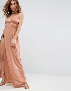 Пляжное платье макси с халтером ASOS - Бежевый