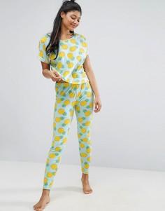 Пижамный комплект с футболкой с принтом ананасов и леггинсами ASOS - Мульти