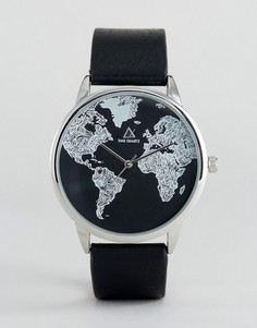 Монохромные часы с принтом карты ASOS - Черный