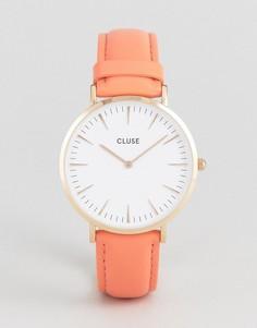 Часы с кожаным ремешком кораллового цвета CLUSE La Boheme - Розовый