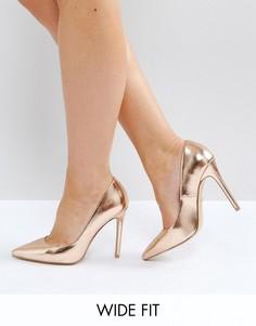 Золотисто-розовые туфли-лодочки для широкой стопы Faith Chloe - Золотой