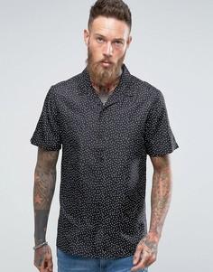 Шелковая рубашка в горошек классического кроя ASOS - Черный