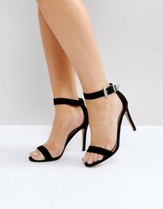 Босоножки на каблуке с пряжками в стиле вестерн ASOS HOUSTON - Черный