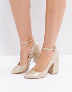 Остроносые туфли на высоком блочном каблуке ASOS PIPELINE - Золотой