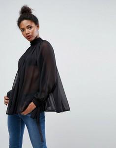 Свободная блузка с высоким воротником ASOS - Черный