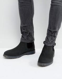 Черные кожаные ботинки челси с фактурной подошвой ASOS - Черный