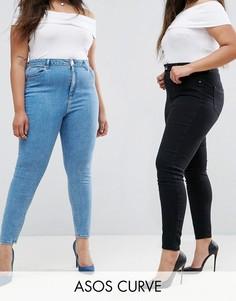 Набор из 2 джинсов скинни черного и синего цвета ASOS CURVE RIDLEY, скидка 16 - Мульти