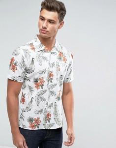 Узкая рубашка с короткими рукавами и принтом Only & Sons - Белый