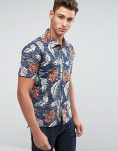 Узкая рубашка с короткими рукавами и принтом Only & Sons - Темно-синий