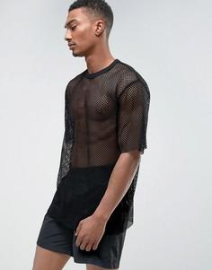 Сетчатая футболка Weekday - Черный