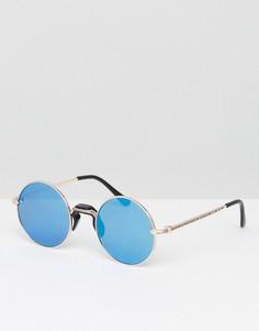 Круглые солнцезащитные очки с синими стеклами Jeeper Peepers - Золотой