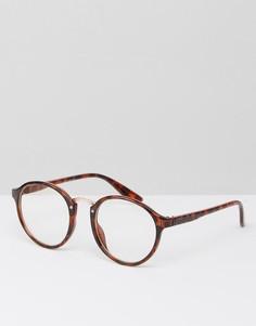 Круглые солнцезащитные очки с прозрачными стеклами 7X - Коричневый