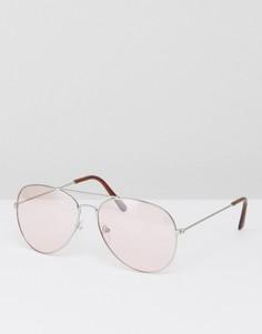 Солнцезащитные очки-авиаторы с розовыми затемненными стеклами 7X - Серебряный
