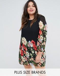 Платье-туника с принтом Yumi Plus - Черный