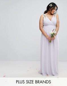 Декорированное платье макси с запахом TFNC Plus Wedding - Фиолетовый