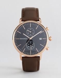 Золотисто-розовые часы с хронографом на кожаном ремешке Sekonda - Коричневый