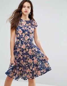 Платье миди с вышивкой Louche Jerrica - Темно-синий