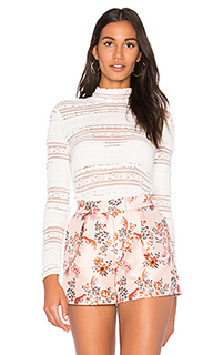 Mock neck textured lace top - Endless Rose