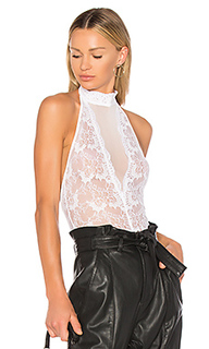 High neck lace bodysuit in - h:ours