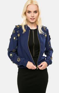 Легкая синяя куртка на молнии с декором Michael Michael Kors