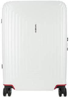 Белый пластиковый чемодан на колесах Samsonite