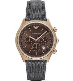 Часы с ремешком из текстиля на кожаной основе Emporio Armani