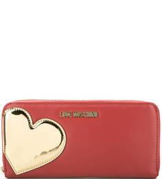 Красный кошелек с четырьмя отделами для купюр Love Moschino