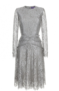 Кружевное платье с длинным рукавом и поясом Ralph Lauren