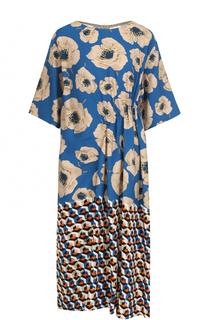 Платье-миди с драпировкой и принтом Dries Van Noten