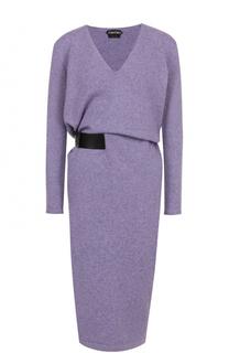Кашемировое платье с V-образным вырезом и поясом Tom Ford