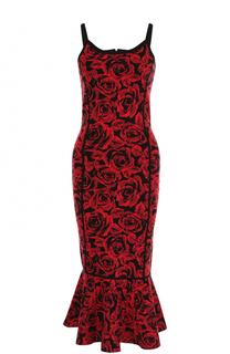 Вязаное платье с цветочным принтом и юбкой годе Michael Kors