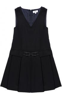 Мини-платье из смеси шерсти и полиэстра с защипами и бантом Aletta