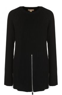 Пуловер фактурной вязки с контрастной молнией Michael Kors