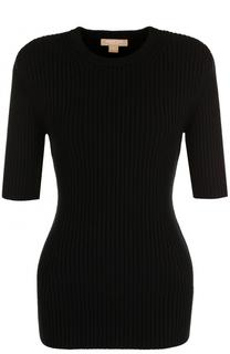 Удлиненный пуловер фактурной вязки с коротким рукавом Michael Kors