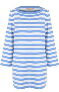 Удлиненный кашемировый пуловер в полоску Michael Kors