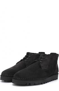 Замшевые ботинки на шнуровке с внутренней меховой отделкой Giorgio Armani